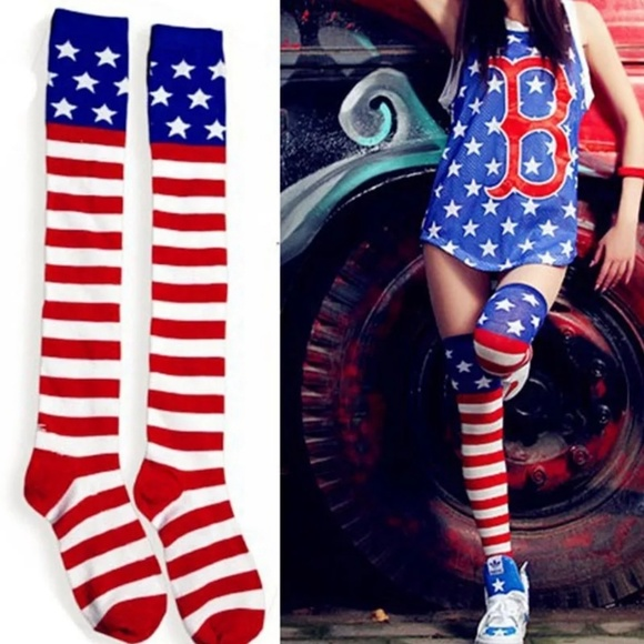 d2895c3fa68 NEW 🇺🇸 American Flag Over The Knee Socks